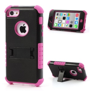 3 Piece PC & Silicone Defender Stand Case for iPhone 5c - Black / Rose