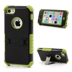 3 Piece for iPhone 5c PC & Silicone Defender Stand Case - Black / Green
