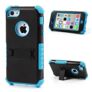 3 Piece for iPhone 5c PC & Silicone Defender Stand Case - Black / Light Blue