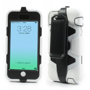 Superb Defender Hybrid Cover for iPhone 5c with Belt Clip Holster - Black / White