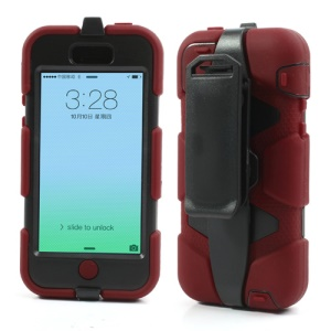 Heavy Duty Defender Hybrid Case for iPhone 5c with Belt Clip Holster - Black / Red