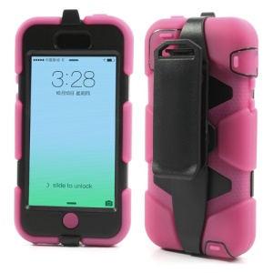 Heavy Duty Hybrid Defender Case for iPhone 5c with Belt Clip Holster - Black / Rose