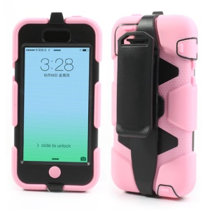 Anti-slip Belt Clip Holster Defender Hybrid Case for iPhone 5c - Black / Pink