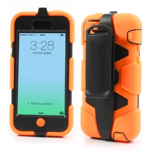 Anti-slip Belt Clip Holster for iPhone 5c Defender Hybrid Cover Case - Black / Orange