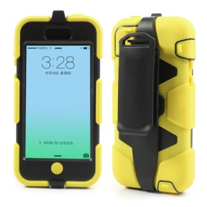 Defender Hybrid Gel Case for iPhone 5c w/ Belt Clip Holster - Black / Yellow