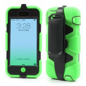 Hybrid Silicone + PC Defender Case for iPhone 5c w/ Belt Clip Holster - Black / Green
