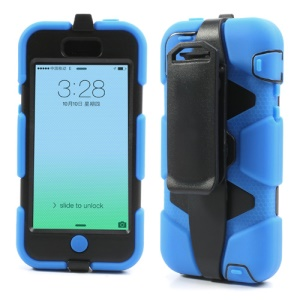 Defender Belt Clip Holster Silicone + PC Combo Case for iPhone 5c - Black / Blue