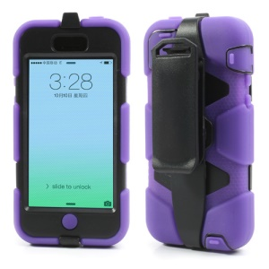 Heavy Duty Silicone + PC Hybrid Cover Case for iPhone 5c w/ Belt Clip Holster - Black / Purple