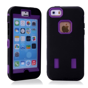 Heavy-Duty Silicone & PC Hybrid Combo Case for iPhone 5c - Black / Purple