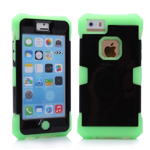 High Impact Luminous Silicone + PC Hybrid Case for iPhone 5c - Green / Black