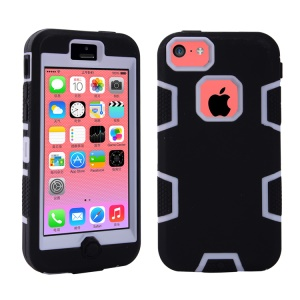 Premium Plastic & Silicone Hybrid Defender Case for iPhone 5c - White / Black