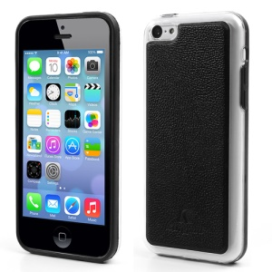KINGPAD Litchi Leather Skin Hard Case for iPhone 5c - Black