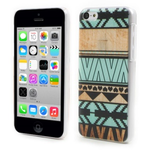 For iPhone 5c Embossing PC Hard Phone Case Cyan & Beige Geometric Design