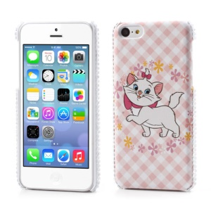 Cute Cat Leather Rhinestone Hard Case for iPhone 5C