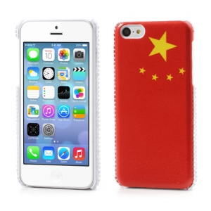 The Five-Starred Red Flag Leather Skin Hard Cover for iPhone 5C