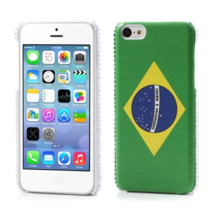 Brazil Flag Leather Coated for iPhone 5C Rhinestone Hard Cover