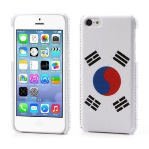 For iPhone 5C Leather Skin Plastic Cover Korea Flag Design