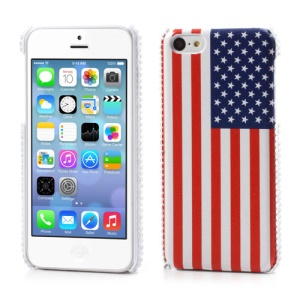 USA American Flag Leather Skin for iPhone 5C Plastic Shell