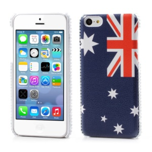 Australian Flag Leather Rhinestone Hard Case for iPhone 5C