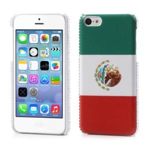 Mexican Flag Leather Rhinestone Hard Cover for iPhone 5C