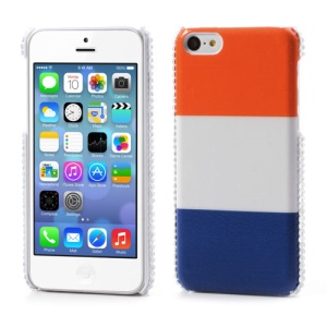 Netherlands Flag Leather for iPhone 5C Rhinestone Plastic Cover