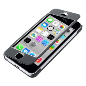 Full-screen Touchable Brushed Metal Front and Plastic Back Case for iPhone 5c - Black