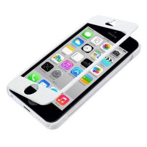 Full-screen Touchable Brushed Metal and Plastic Flip Cover for iPhone 5c - White