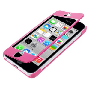 Full-screen Touchable Brushed Metal and Plastic Flip Case for iPhone 5c - Rose