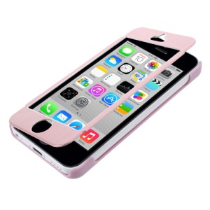 Full-screen Touchable Brushed Metal + Plastic Case for iPhone 5c - Pink