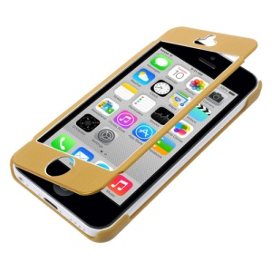 Full-screen Touchable Brushed Metal + Plastic Cover for iPhone 5c - Yellow