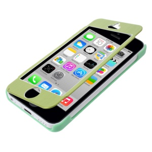 For iPhone 5c Front and Back Case Full-screen Touchable Brushed Metal + Plastic - Green