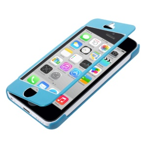Full-screen Touchable Flip Cover Brushed Metal + Plastic Case for iPhone 5c - Blue