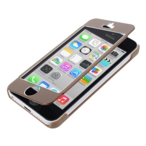Full-screen Touchable Brushed Metal + Plastic Flip Cover Case for iPhone 5c - Brown
