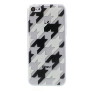 For iPhone 5c Relief Fashion Houndstooth Pattern Crystal Hard Shell
