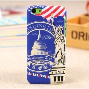 UMKU United States Capitol & the Statue of Liberty Rubberized Hard Cover for iPhone 5c