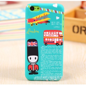 UMKU England London Bus & Vintage Plane Hard Back Cover for iPhone 5c