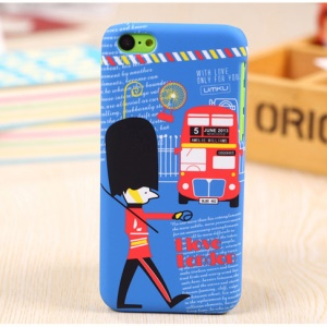 UMKU London Eye Ferris Wheel & Double-deck Bus Hard Cover Jacket for iPhone 5c