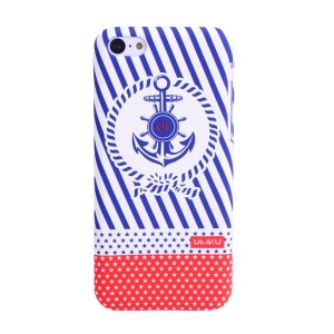 UMKU Ocean Style Anchor & Diagonal Stripes Rubberized Hard Case for iPhone 5c