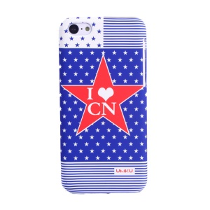 UMKU Ocean Style I Love CN & Stars Rubberized Hard Back Shell for iPhone 5c