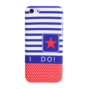 UMKU Ocean Style I Do Stars & Stripes Rubberized Hard Back Shell for iPhone 5c