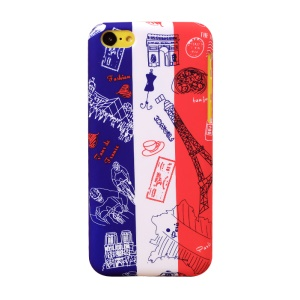 UMKU France Flag & Tourist Attractions Protective Hard Case for iPhone 5c