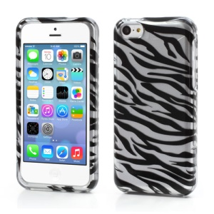 Zebra Stripe 2 in 1 Snap-On Hard Case for iPhone 5C - Silver