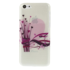 Slim Brushed Plastic Cover Heart Flowers & Ribbons Pattern for iPhone 5c