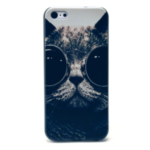 Cool Cat with Shades Pattern Hard Plastic Shell Case for iPhone 5c