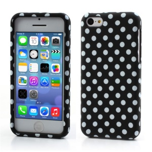 Polka Dot Snap-on Hard Case for iPhone 5C - White Dots / Black