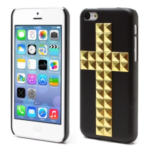 Black Cross Golden Pyramid Studs Spikes Rivet Hard Case for iPhone 5C
