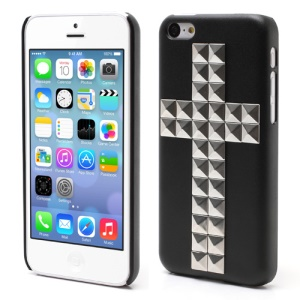 Black Cross Silver Pyramid Studs Spikes Punk Hard Back Case for iPhone 5C