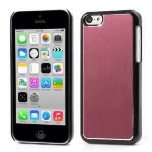 Pink Brushed Aluminum Plastic Back Case for iPhone 5c