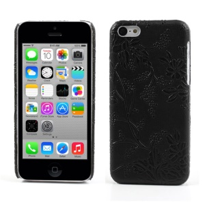 Black Flower Vine Pattern Leather Coated for iPhone 5c Skidproof Hard Case