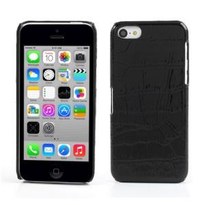Black Crocodile Leather Skin Hard Plastic Cover for iPhone 5c